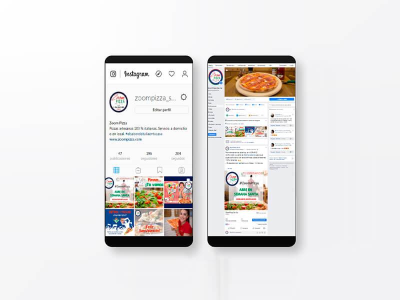 Gestión de redes sociales de Zoom Pizza